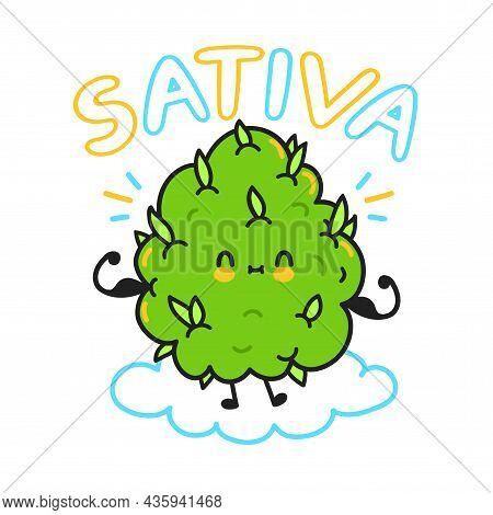 Cute Weed Cannabis Bud. Sativa Quote. Vector Cartoon Character Flat Line Illustration. Weed, Marijua
