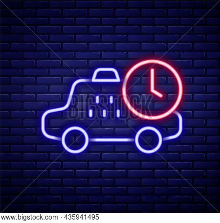 Glowing Neon Line Taxi Waiting Time Icon Isolated On Brick Wall Background. Car Deadline, Schedule R