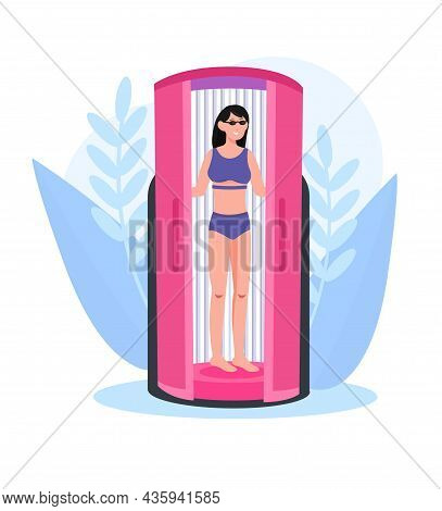 Woman In Solarium. Female Character Standing In Tanning Booth. Procedure For Changing Color Of Skin.