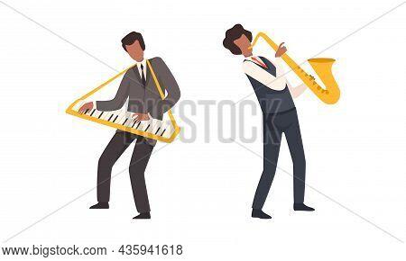 Man Musician Character Performing Music Playing Saxophone And Keyboard Vector Set