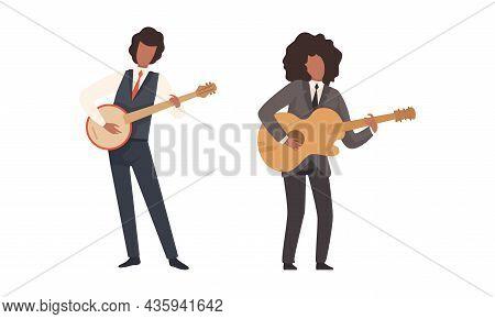 Man Musician Character Performing Music Playing Guitar And Balalaika Vector Set