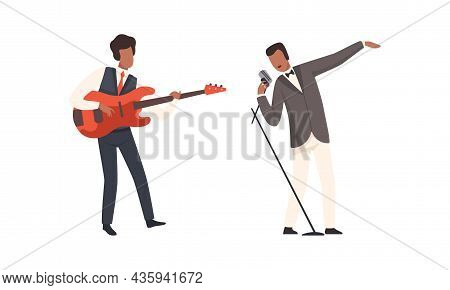 Man Musician Character Performing Music Playing Electric Guitar And Singing With Microphone Vector S