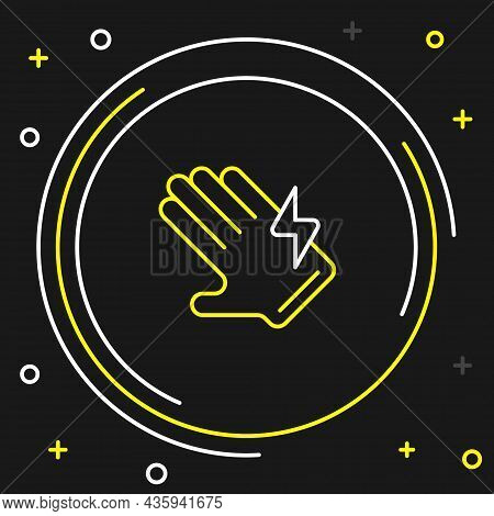 Line Electric Glove Icon Isolated On Black Background. Safety Gloves, Hand Protection. Colorful Outl