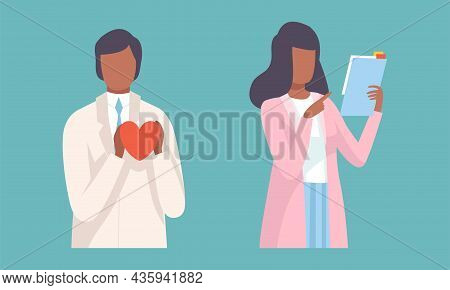 Young Man And Woman Doctor In Coat With Heart And Clipboard Vector Set