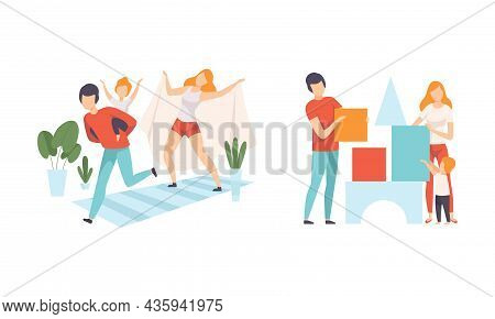 Happy Family With Man And Woman Parent With Kid Spending Good Time Together Running And Playing Toy