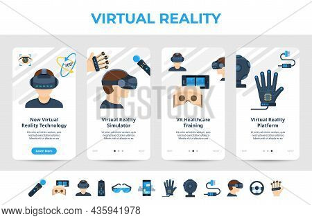 Set Virtual Reality Simulator Landing Page Design Vector Flat Illustration. Augmented Or Extended Vr