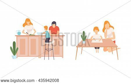 Happy Family With Man And Woman Parent With Kid Spending Good Time Together Doing Homework And Cooki