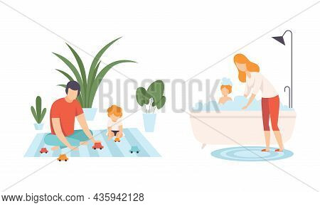 Happy Family With Man And Woman Parent With Kid Spending Good Time Together Playing Toy Car And Bath