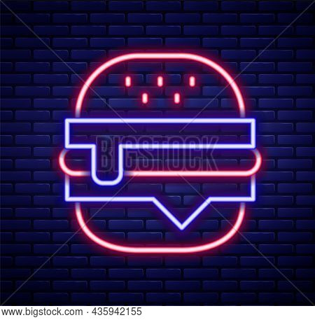 Glowing Neon Line Burger Icon Isolated On Brick Wall Background. Hamburger Icon. Cheeseburger Sandwi