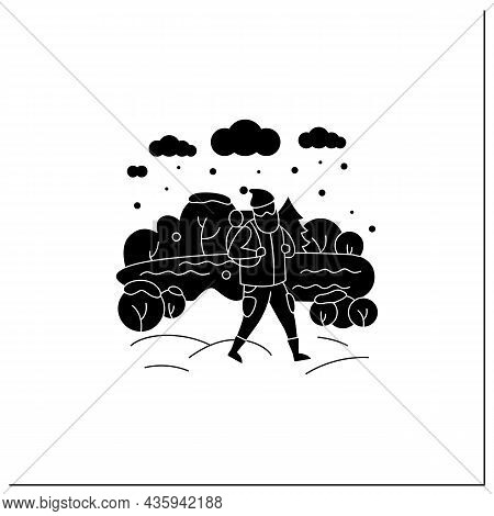 Friluftsliv Glyph Icon. Hiking. Man Walking Near River. Snowy Weather. Nature Landscape.camping. Nor