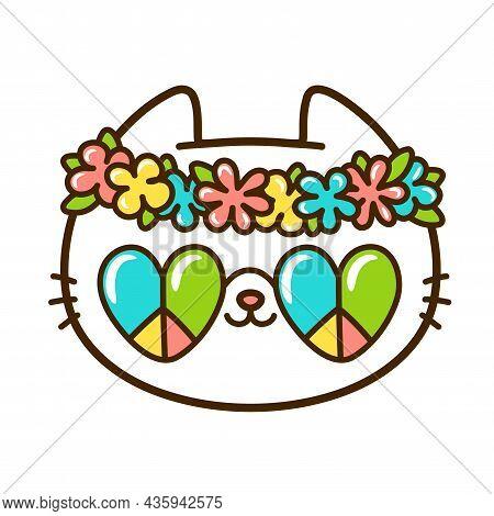 Cute Funny Little Hippie Baby Cat Face. Vector Hand Drawn Cartoon Kawaii Character Illustration Logo