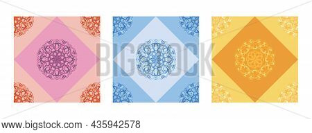 Vector Colorful Abstract Ornaments Seamless Patterns Set