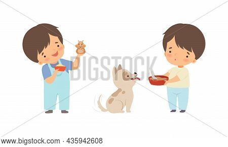 Cute Little Boy Interacting With Animal In Petting Zoo Vector Set