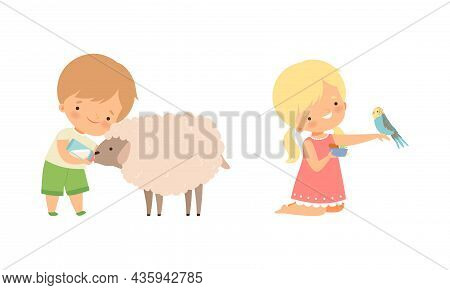 Cute Little Boy And Girl Interacting With Animal In Petting Zoo Vector Set