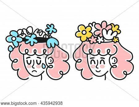 Cute Sad And Happy Woman Head With Flowers Inside Head. Good Vs Bad Mood, Mental Health, Depression.