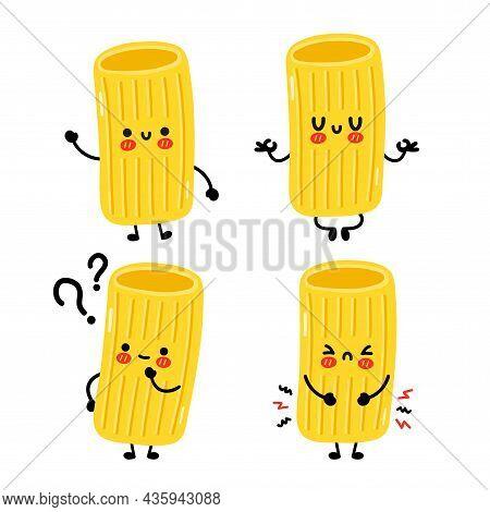 Cute Funny Macaroni Pasta Noodles Character Set. Vector Hand Drawn Cartoon Kawaii Character Illustra