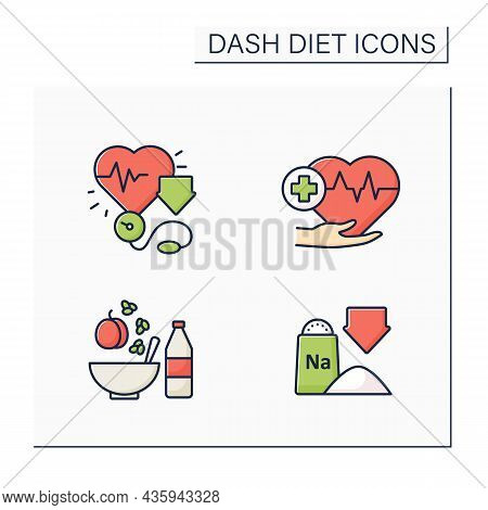 Dash Diet Color Icons Set. Reducing Blood Pressure, Low Sodium, Heart-healthy. Healthy Food Concepts