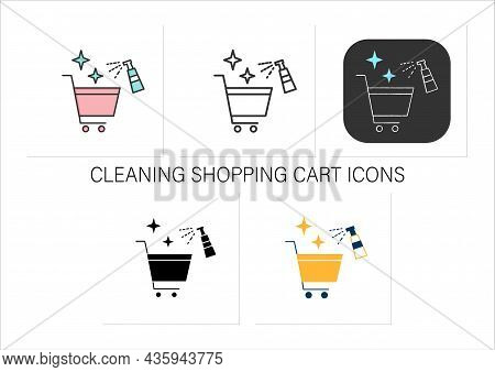 Cleaning Shopping Cart Icons Set.handels Disinfecting.public Spaces Disinfecting.safety Space And Pr