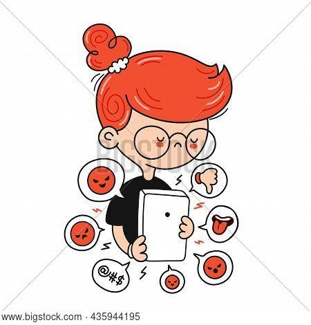 Sad Cute Boy Getting Bullied. Cyberbullying Signs In Smartphone. Vector Cartoon Character Flat Line