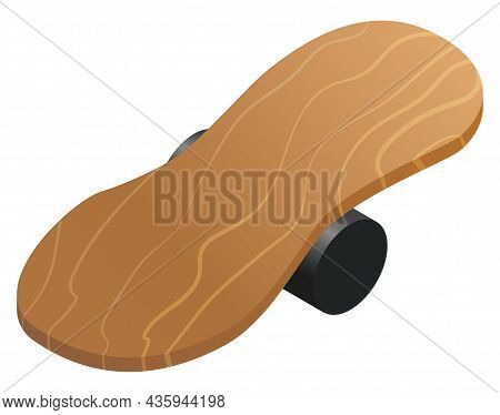 Wooden Balance Board Isolated On White Vector Illustration. Cartoon Seesaw. Teeter-totter. Equilibri