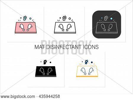Disinfection Mat Icons Set.antibacterial Entrance Foot Bath.covid Pandemic Prevention Measure, Shoe