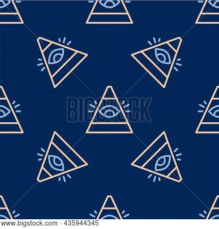 Line Masons Symbol All-seeing Eye Of God Icon Isolated Seamless Pattern On Blue Background. The Eye