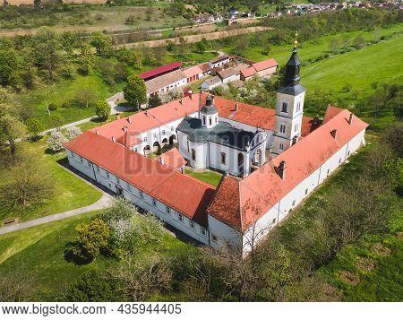 Aerial View Of Monastery Krusedol , National Park Fruska Gora,  Vojvodina, Serbia. Orthodox Monaster