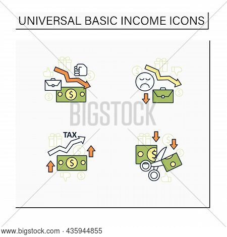 Universal Basic Income Color Icons Set. Higher Tax, Less Spending, Reduce Work Motivation, Low Wages