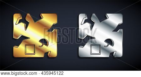 Gold And Silver Broken Cardboard Box Icon Isolated On Black Background. Box, Package, Parcel Sign. D