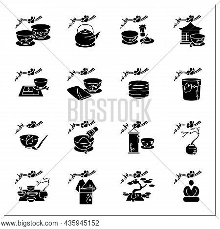 Japanese Tea Ceremony Glyph Icons Set. Japanese Ethnic And National Ritual. Japan Ancient Tradition.