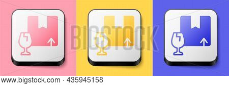 Isometric Delivery Package Box With Fragile Content Symbol Of Broken Glass Icon Isolated On Pink, Ye