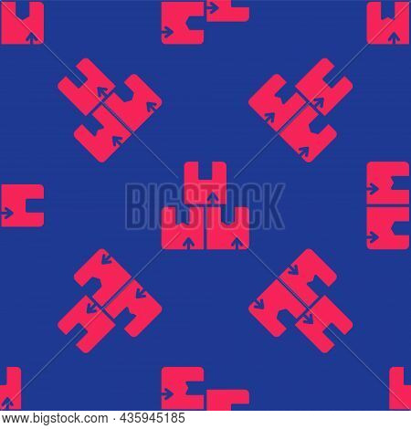 Red Carton Cardboard Box Icon Isolated Seamless Pattern On Blue Background. Box, Package, Parcel Sig