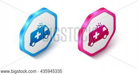 Isometric Ambulance And Emergency Car Icon Isolated On White Background. Ambulance Vehicle Medical E