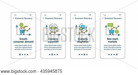 Economic Recovery Onboarding Mobile App Screens. Economy Variations. Growth Period. Business Concept