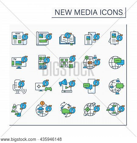 New Media Color Icons Set. Transmitting, Sharing, Reproducing Information. Information Space Concept