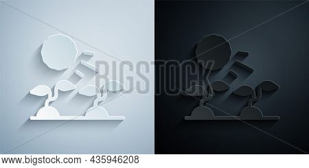 Paper Cut Plant Sprouts Grow In The Sun Icon Isolated On Grey And Black Background. Seedling Concept
