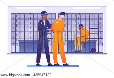 Criminal Put In Prison. Police Officer Escorts Prisoner To His Cell With Bars. Work Of Law Enforceme