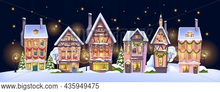 Christmas Winter House Landscape, Vector Holiday X-mas Small Town Background, Decorated Village View