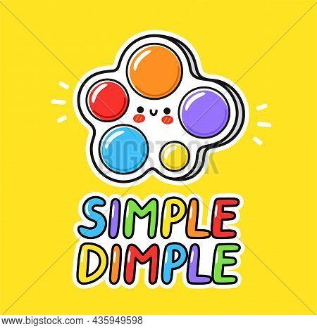 Cute Funny Simple Dimple Fidget Sensory Toy Logo. Vector Hand Drawn Cartoon Kawaii Character Illustr