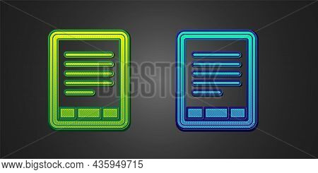Green And Blue E-book Reader Icon Isolated On Black Background. Vector