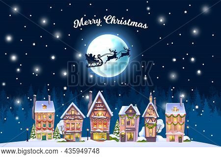 Christmas Winter House Landscape, Vector Holiday X-mas Town Postcard, Night Village Background, Moon