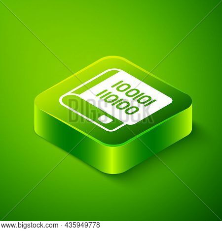 Isometric Books About Programming Icon Isolated On Green Background. Programming Language Concept. P