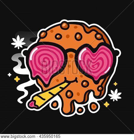 Cute Funny Cannabis Chocolate Cookie With Weed Joint Character. Vector Cartoon Kawaii Character Illu