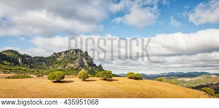 Beautiful Blue Sky With Clouds Over The Limestone Formations Of Ogliastra, Sardinian Dolomite Format