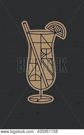 Art Deco Cocktail Pina Colada Drawing In Line Style On Dark Background