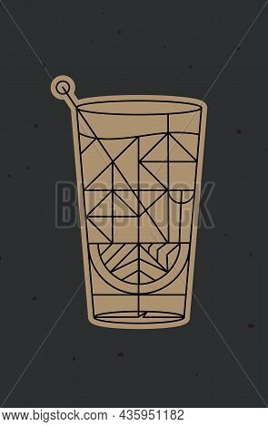 Art Deco Cocktail Tequila Drawing In Line Style On Dark Background