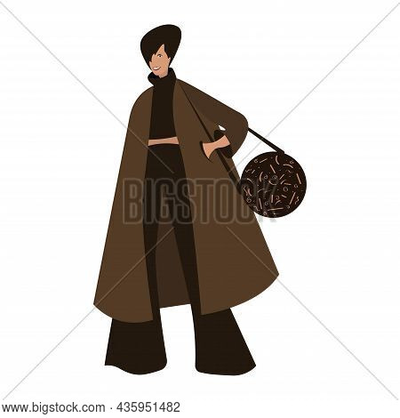 Beautiful Fashionable Smiling Girl With A Handbag. Young Smiling Woman With A Handbag, Dressed In Fa