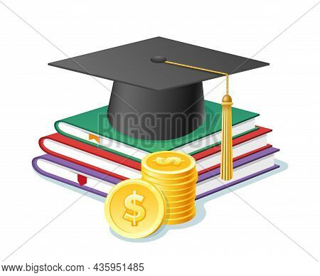 College Expense Budget. Academic Hat On Books And Money, Expensive Learning Budgeting, School Educat