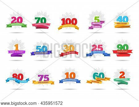Anniversary Firework Labels. Celebration Numbers Labels, Celebrate Party Event Banners With Ribbons