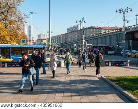 Moscow, Russia - October 5, 2021: People Walk Down The Street On An Autumn Day Near The Moscow Metro